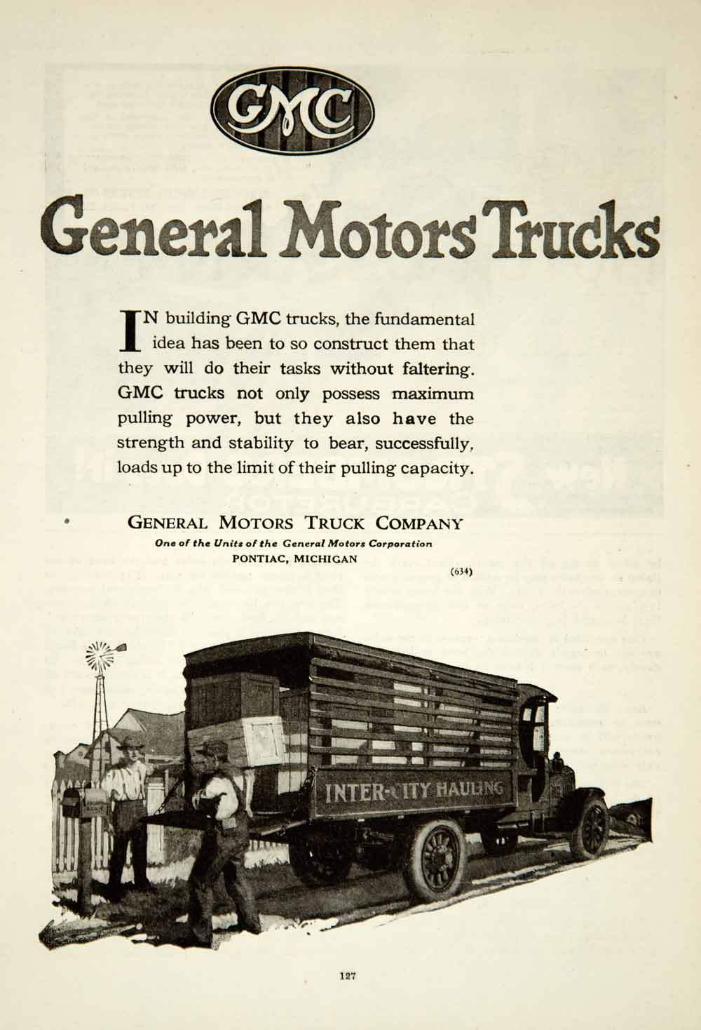 1920 Ad General Motors Corporation Truck Company Automobile GMC Vehicles YRR2