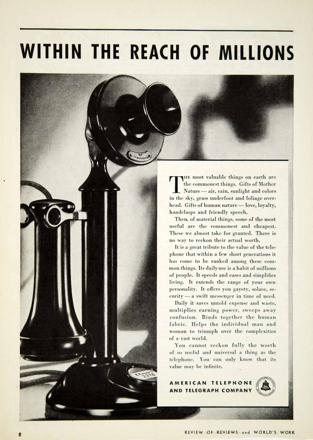 1933 Ad American Telephone Telegraph Company Bell System Communications Image