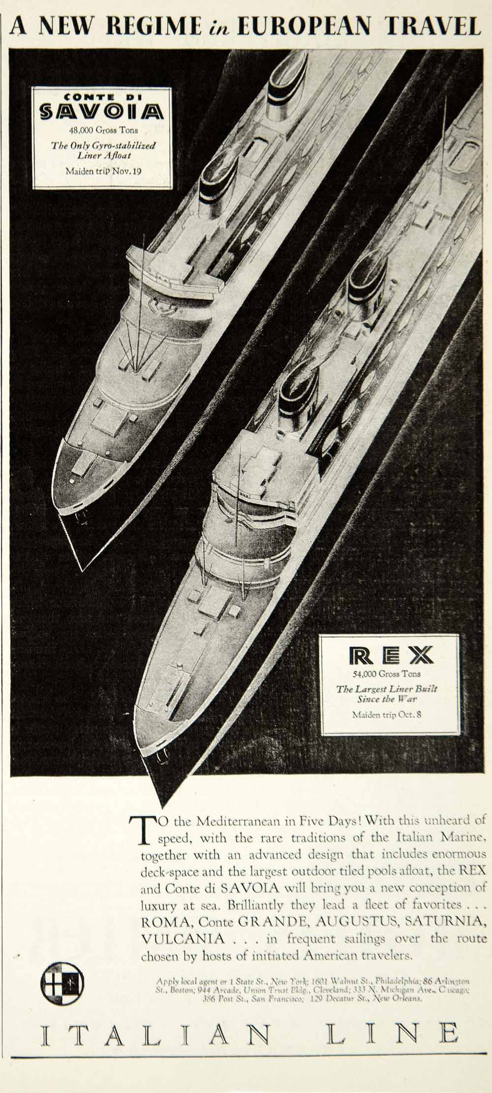 1932 Ad Italian Cruise Line Rex Ship Mediterranean Sea Ship Boat Nautical Image