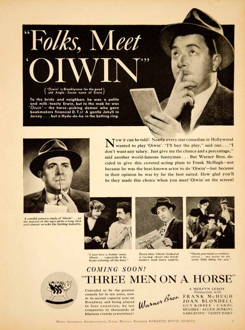 1936 Ad Movie Three Men on a Horse Frank McHugh Joan Blondell Warner Bros YRS1
