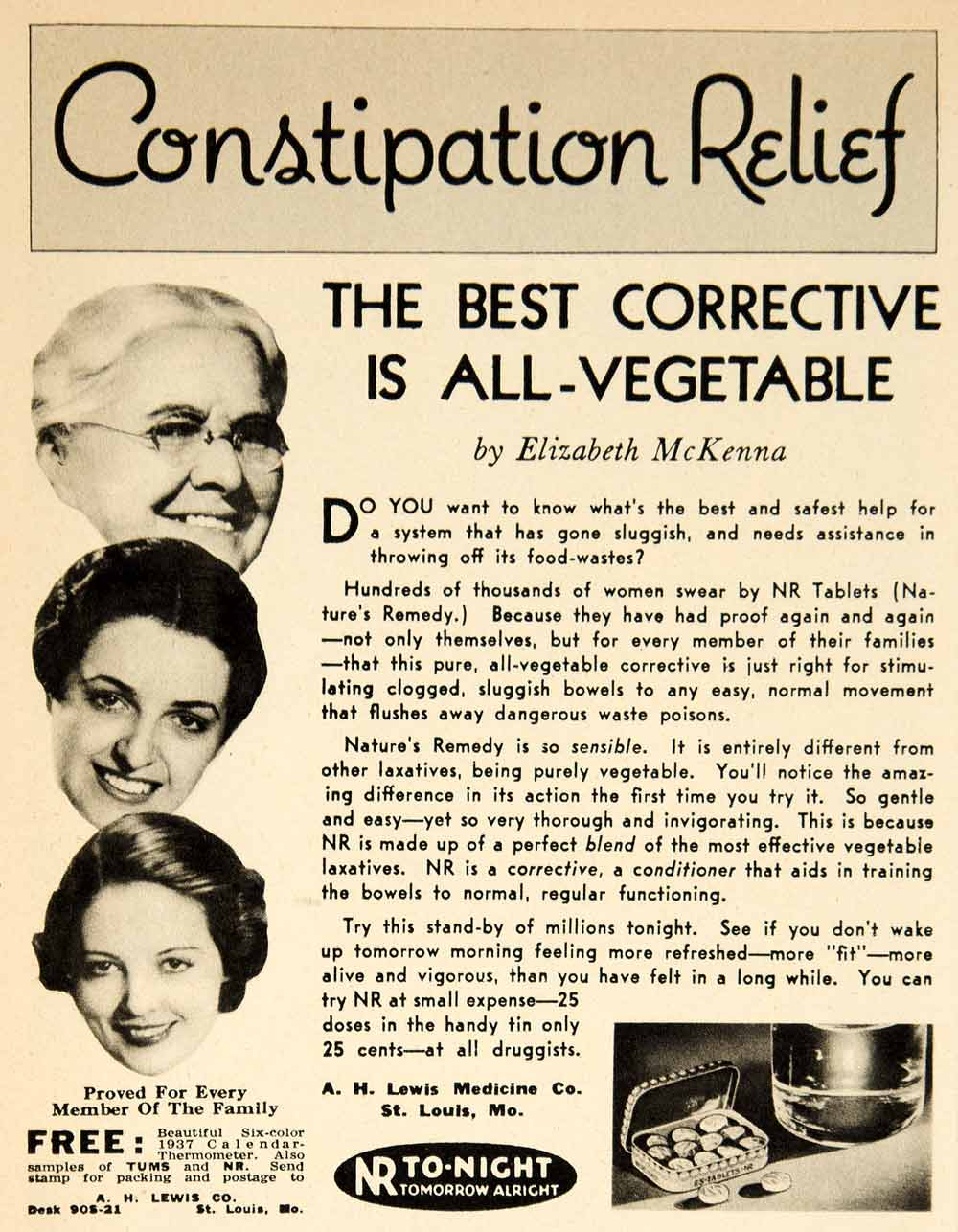 1936 Ad Vintage NR Tablets Pills Vegetable Laxative Constipation Nature's YRS1