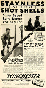 1934 Ad Winchester Repeating Arms Company Staynless Shot Shells Gun Weapon YSA1