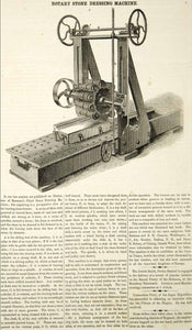 1853 Wood Engraving Rotary Stone Dressing Machine Victorian Invention Tool YSA2