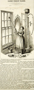 1855 Wood Engraving Antique Window Washer Washing Victorian Home Invention YSA2