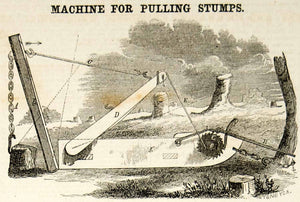 1856 Wood Engraving Antique Stump Puller Victorian Invention Farm Field YSA2
