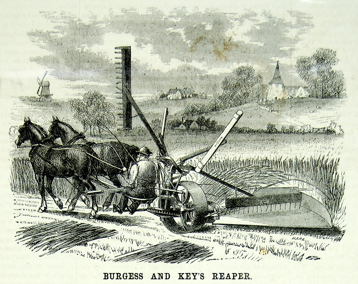 1875 Wood Engraving Reaper Burgess & Key Horse-Drawn Antique Farm Machine YSA4