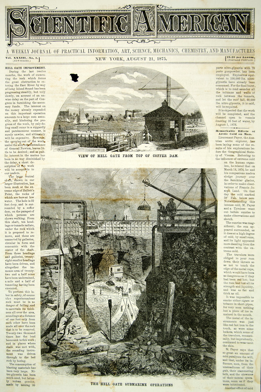 1875 Article Hell Gate East River Construction Coffer Dam New York City YSA4