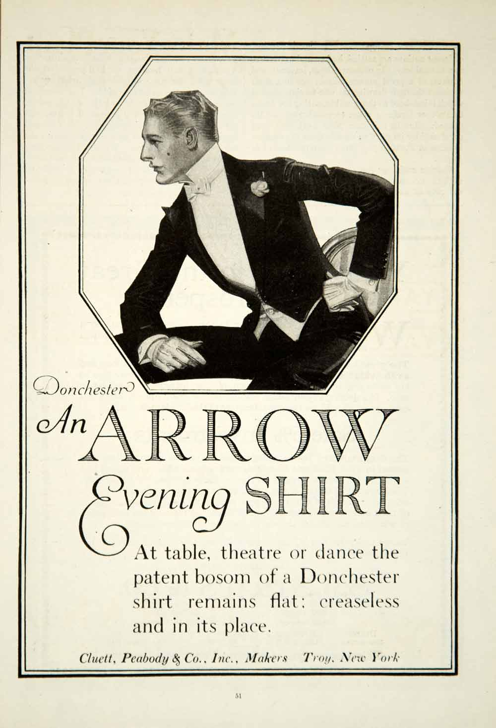 1919 Ad Cluett Peabody Donchester Arrow Shirt Clothing Art Deco Fashion YSC1