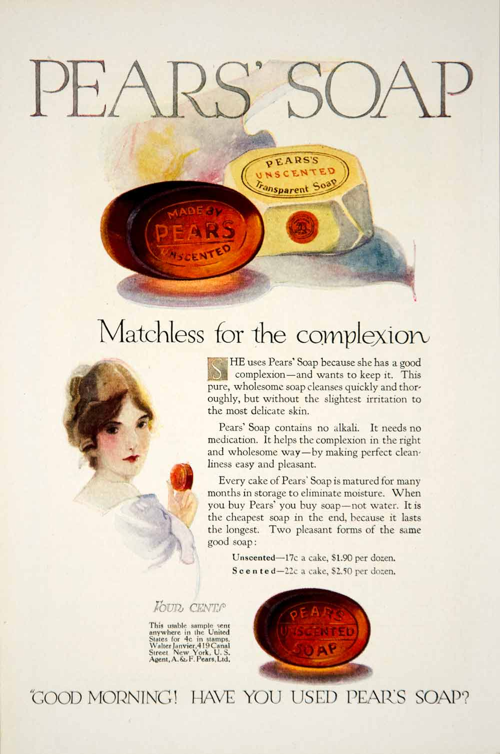 1919 Ad Walter Janvier Pears Soap Health Beauty Hygiene Cleansing Household YSC1