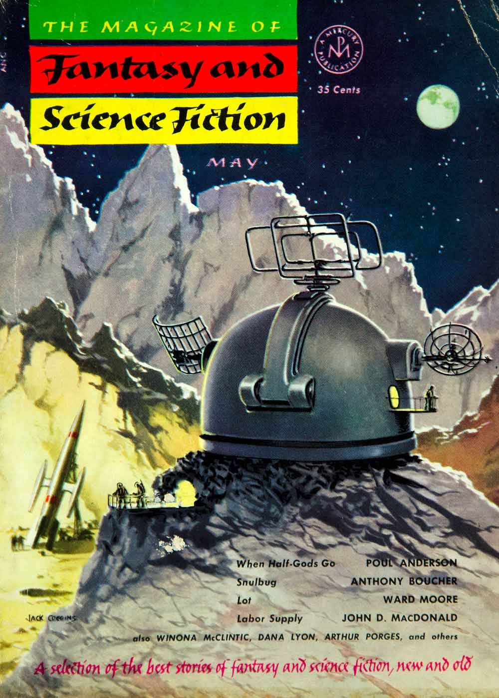 1953 Cover Fantasy Science Fiction Art Jack Coggins Moon Station Astronaut YSFC2