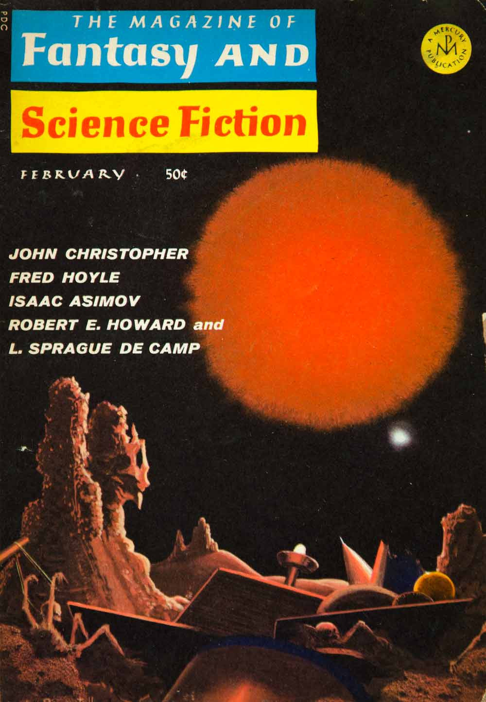 1967 Cover Fantasy Science Fiction Art Chesley Bonestell Zeta Aurigae Red YSFC2 - Period Paper