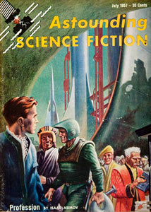 1957 Cover Astounding Science Fiction Art Frank Kelly Freas Isaac Asimov YSFC3