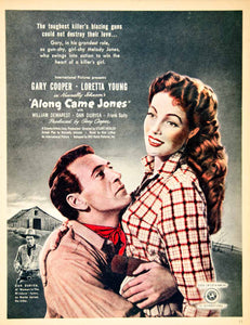 1945 Ad Movie Along Came Jones Gary Cooper Loretta Young Western Stuart YSG1