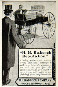 1903 Ad Vintage H. H. Babcock Carriage Men Horse-Drawn Buggy Watertown NY YSM2