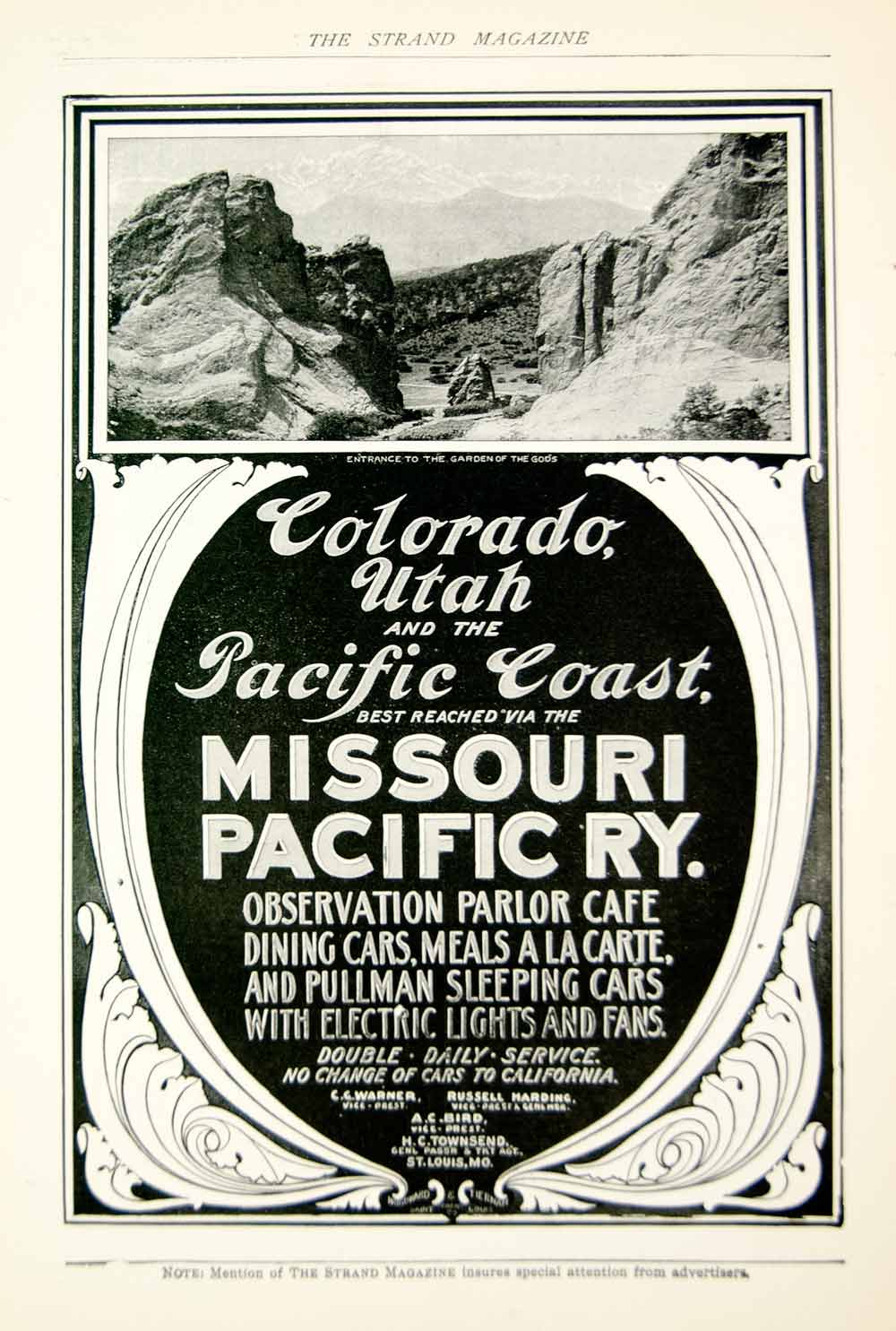 1903 Ad Vintage Missouri Pacific Railway Railroad Travel Garden of the Gods YSM2