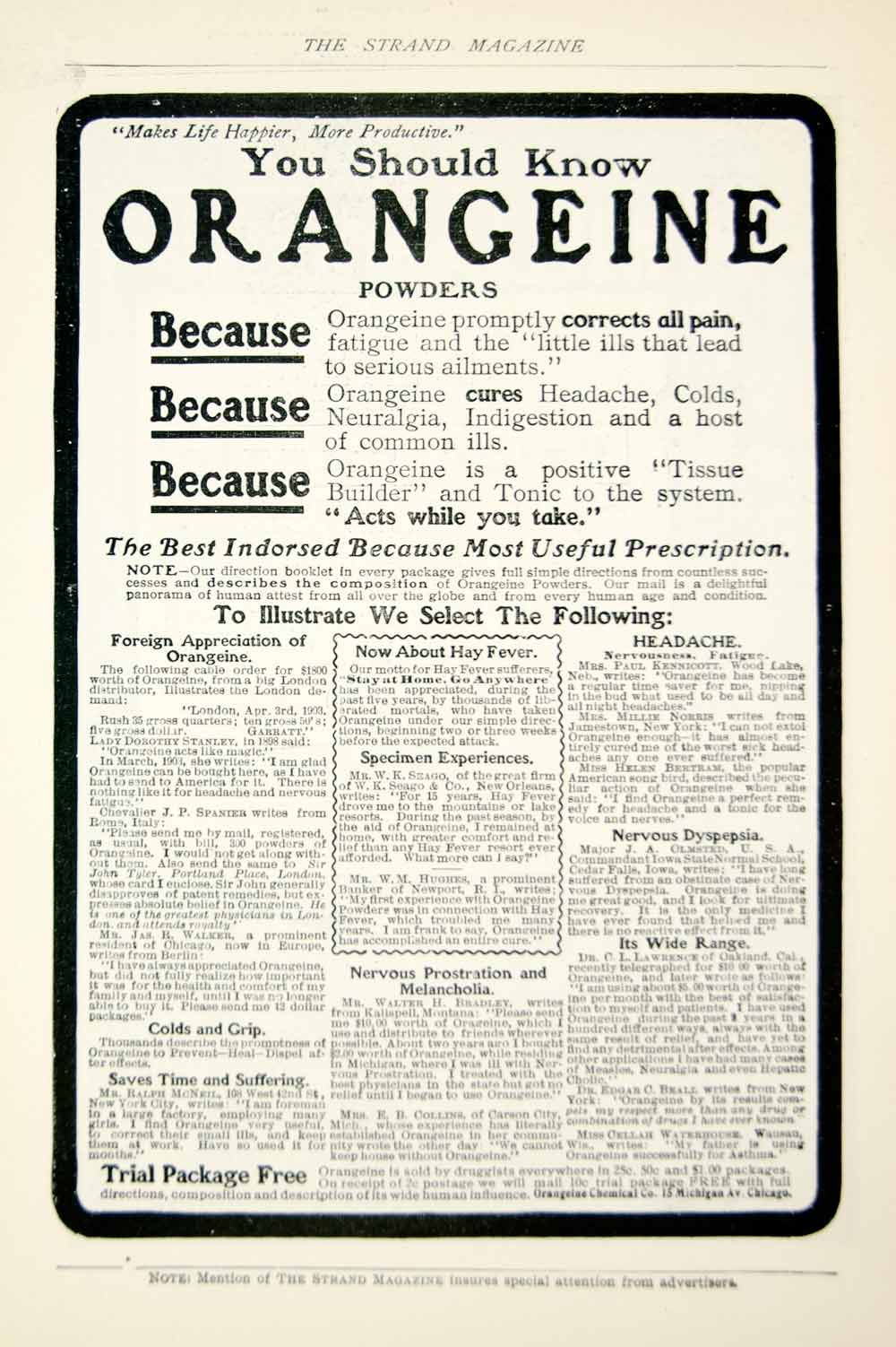 1903 Ad Vintage Orangeine Powders Medical Quackery Pain Relief Cure Tonic YSM2