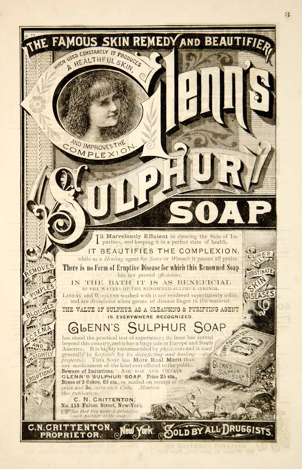 1886 Ad Antique Glenn's Suphur Soap Complexion Victorian Skin Care Beauty YSN1