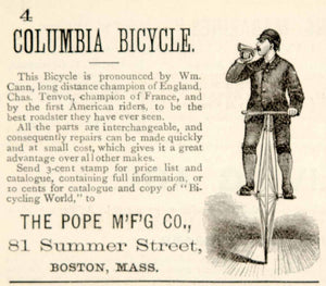 1880 Ad Antique Columbia Bicycle Victorian Pope Mfg. Wm. Cann Chas. Tenvot YSN1