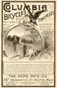 1885 Ad Columbia Bicycles Tricycles Pope Mfg. 597 Washington St. Boston YSN1