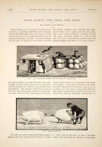 1880 Article Victorian Children Winter Play Snowman Snow Sculpture Pig Owl YSN1