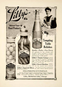1909 Ad Vintage Libby's Tomato Catsup Pickles Olives Relishes Condiment YSN2