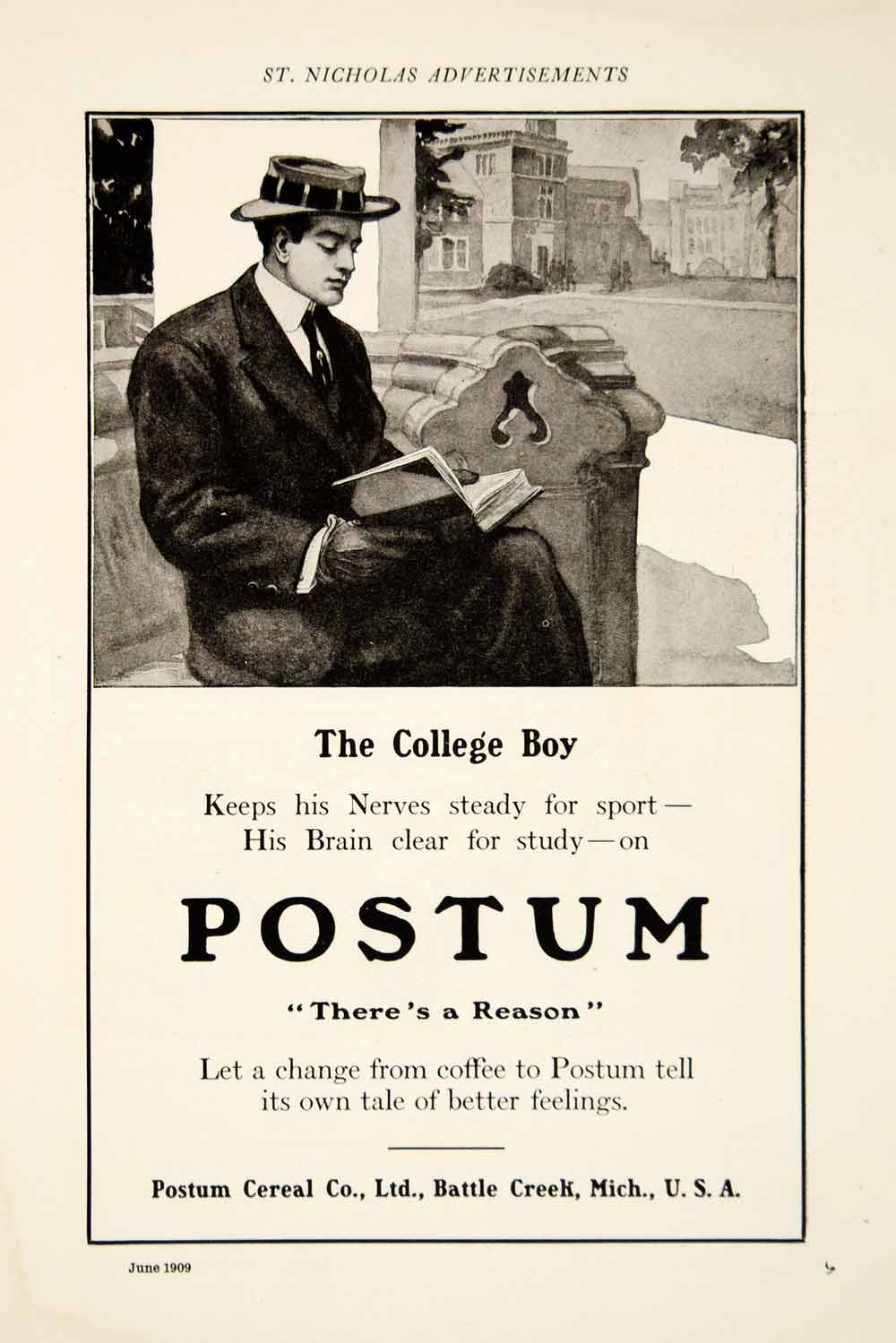 1909 Ad Postum Coffee Substitute Caffeine Free Healthy Beverage College Boy YSN2