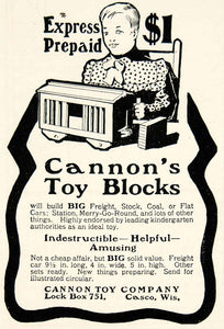 1902 Ad Vintage Cannon Toy Building Blocks Child Playing Casco Wisconsin YSN2