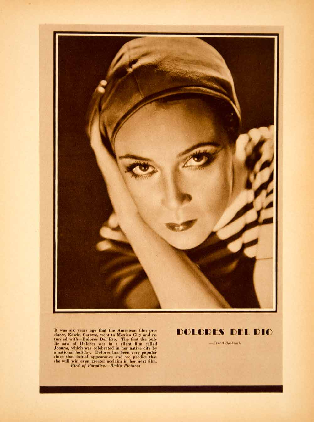 1931 Rotogravure Delores del Rio Portrait Mexican Movie Star Actress YSP2