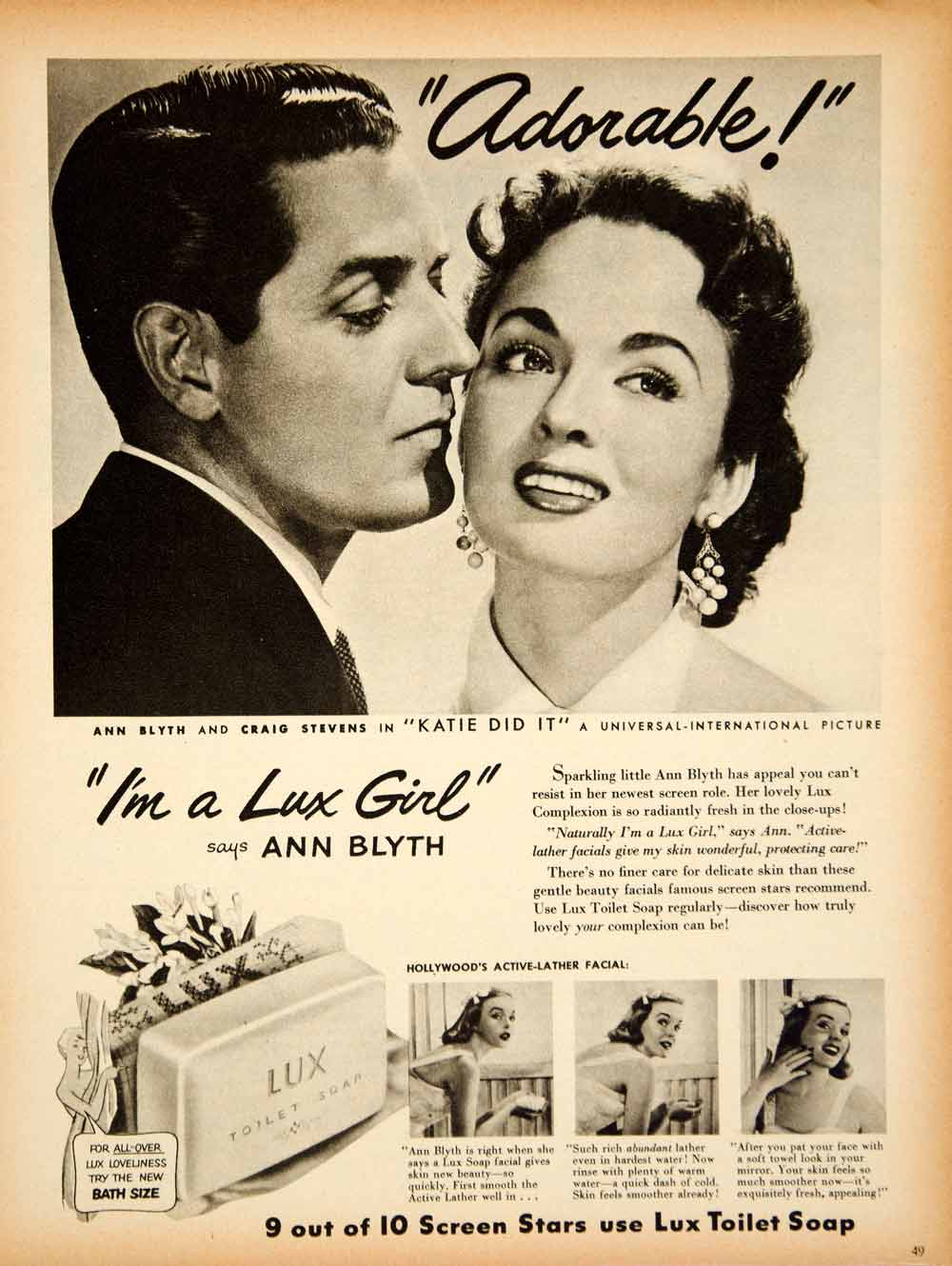 1950 Ad Lux Toilet Soap Ann Blyth Craig Stevens Katie Did It Movie Actress YSS2