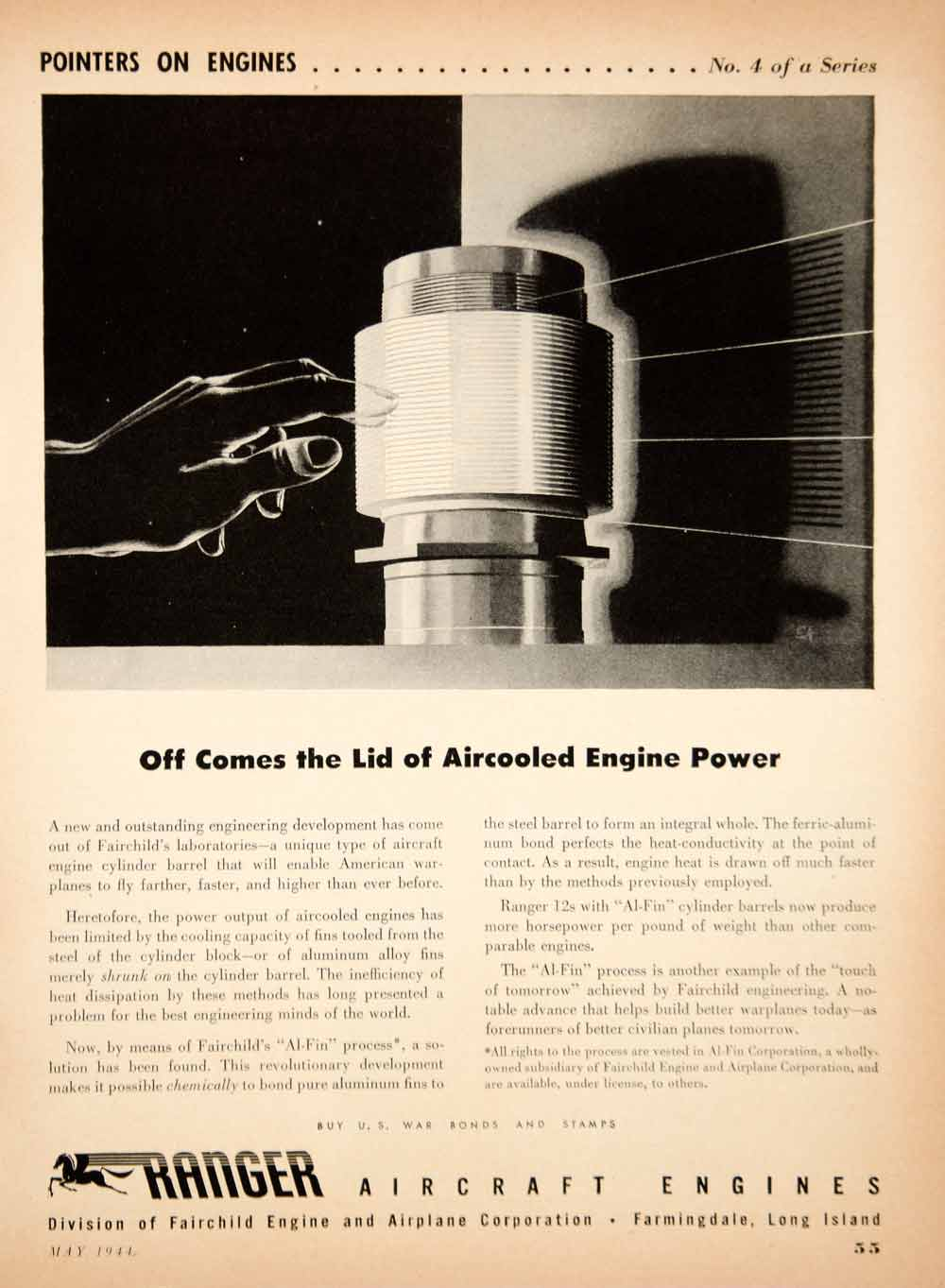 1944 Ad Ranger Aircraft Fairchild Aircooled Engine WWII Airplane Aviation YSW3