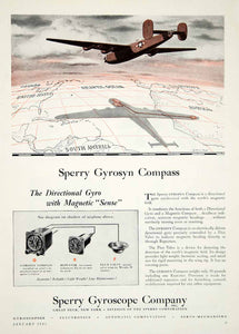 1945 Ad Sperry Gyrosyn Compass Flux Valve Repeater Aviation Instrument WWII YSW3
