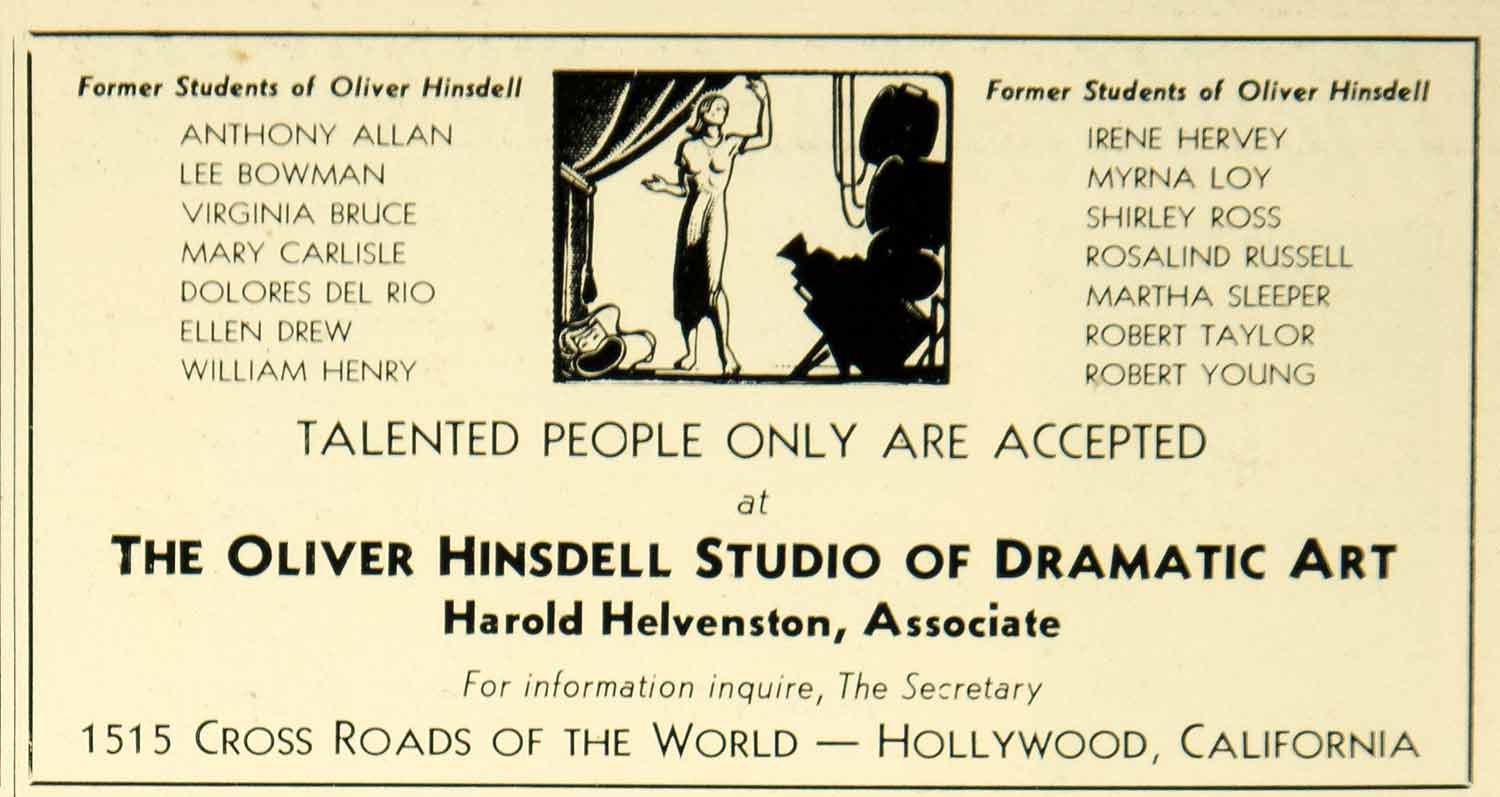 1939 Ad Oliver Hinsdell Studio of Dramatic Art Acting Lessons Hollywood CA YTA1