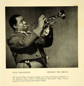 1940 Print Louis Armstrong Trumpet Swingin' The Dream Broadway Musical Jazz YTA2