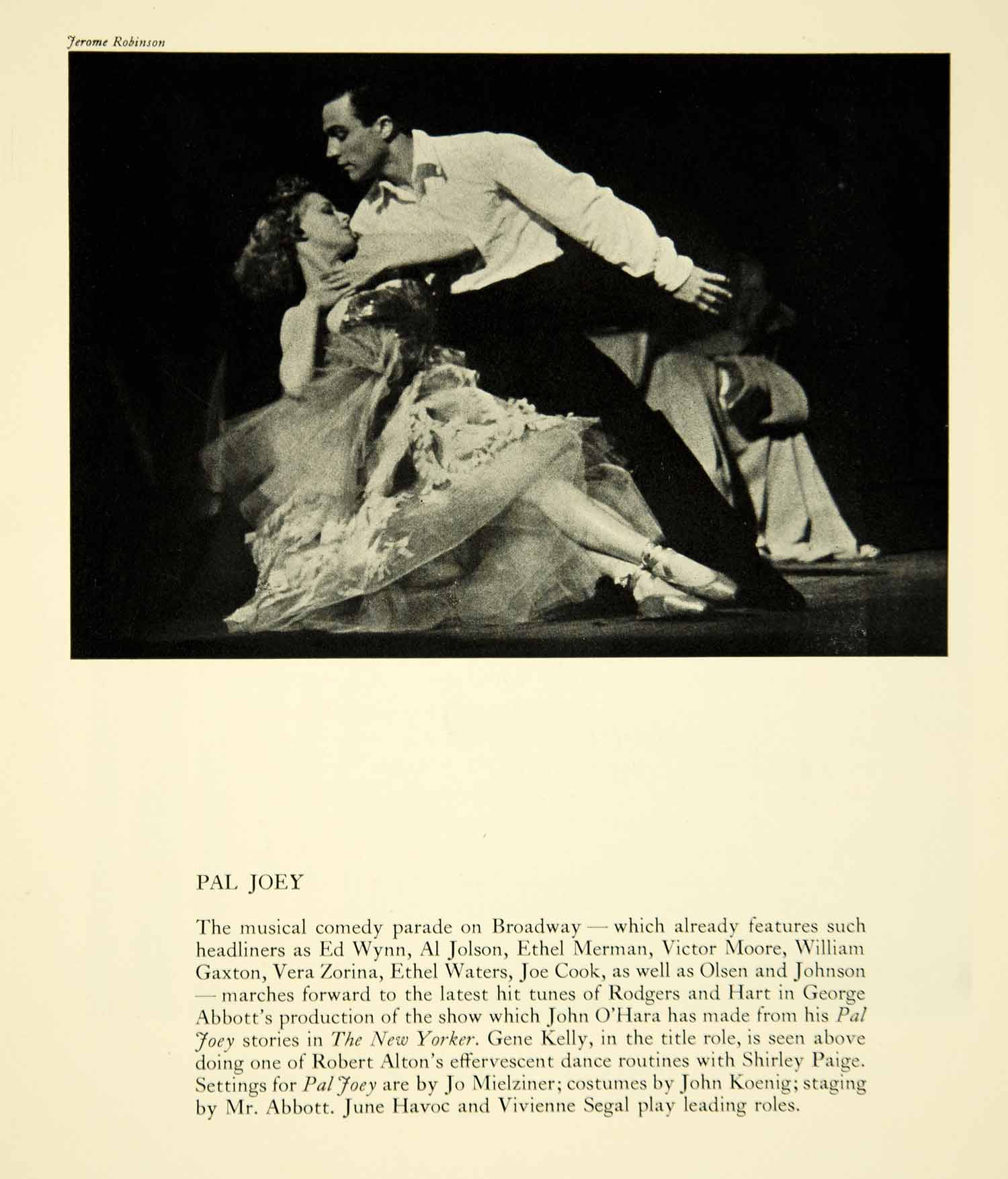 1941 Print Pal Joey Broadway Musical Gene Kelly Shirley Paige Dance Theater YTA2