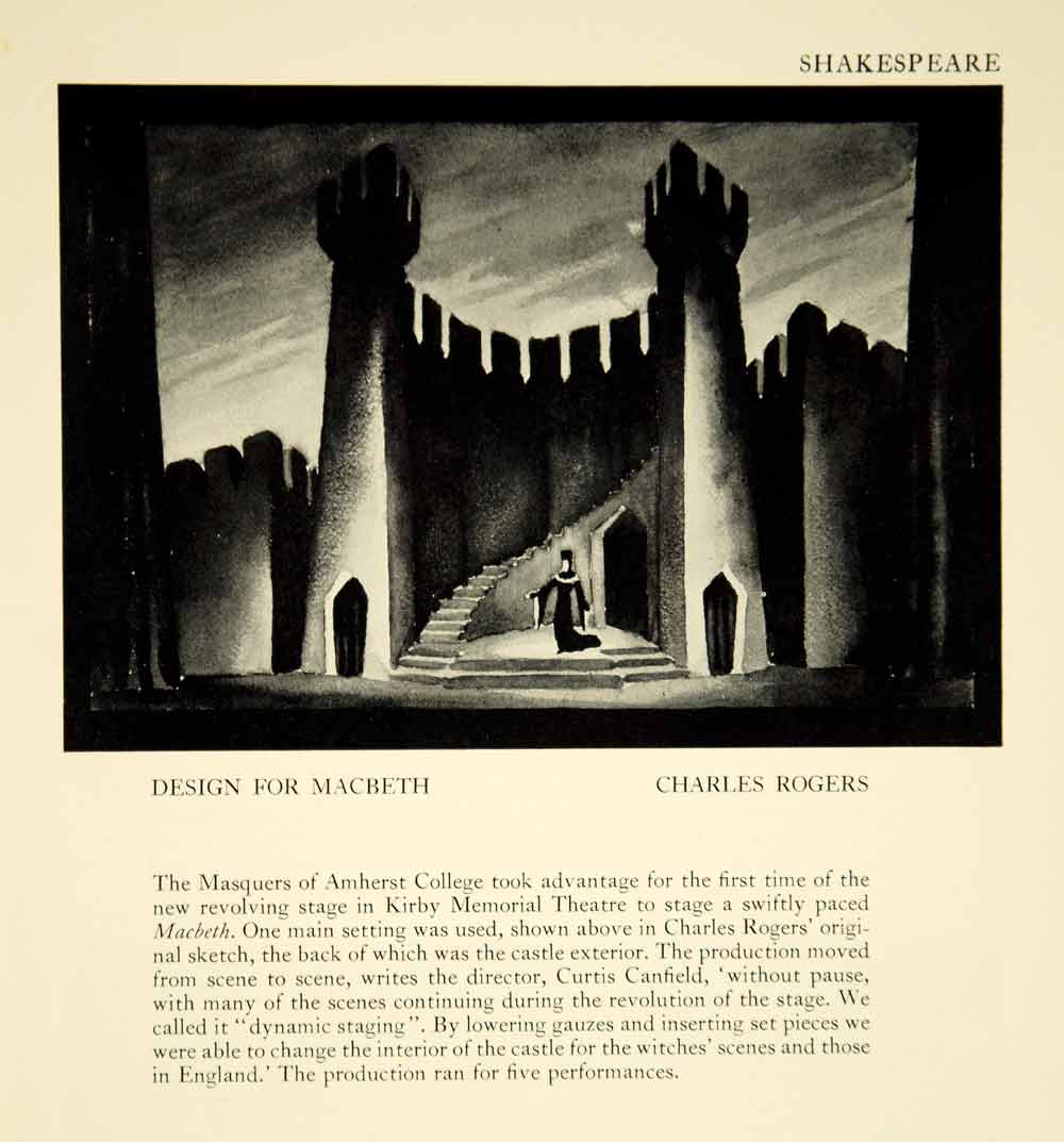1942 Print Charles Rogers Castle Set Design Macbeth Kirby Memorial Theatre YTA2