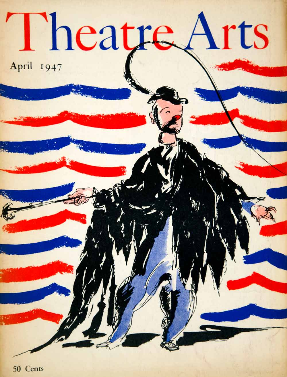 1947 Cover Theatre Arts Emmett Kelly Weary Willie Clown Costume Circus Hobo YTA3