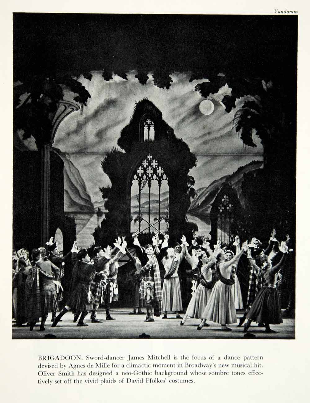 1947 Print Brigadoon Broadway Musical James Mitchell Actor Dance Theater YTA3