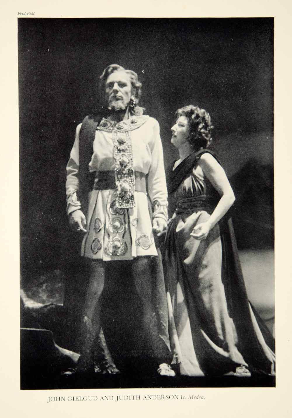 1947 Print John Gielgud Judith Anderson Medea Theater Stage Robinson Jeffer YTA3