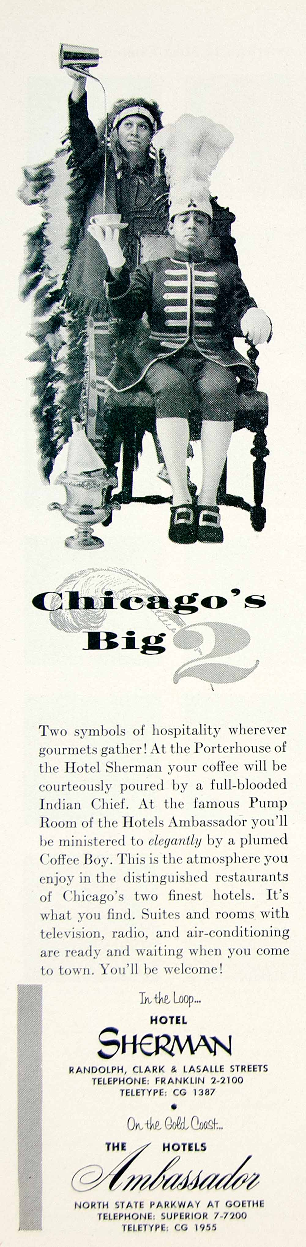 1957 Ad Vintage Ambassador Hotel Sherman Chicago Indian Chief Coffee Boy YTA4