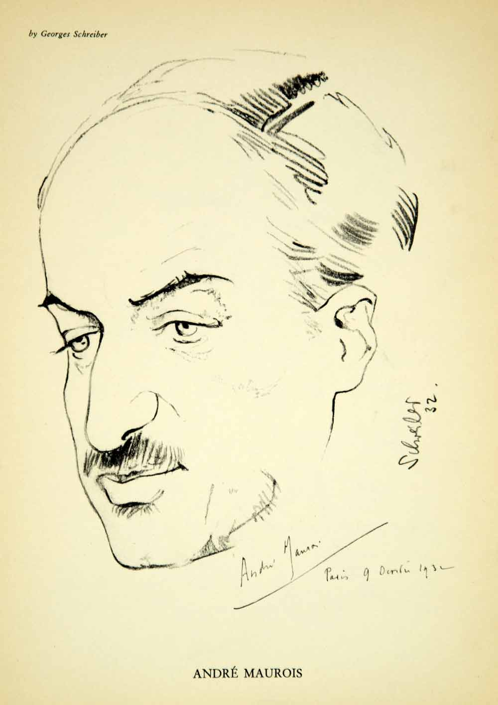 1933 Print Andre Maurois French Author Writer Portrait Georges Schreiber YTB1