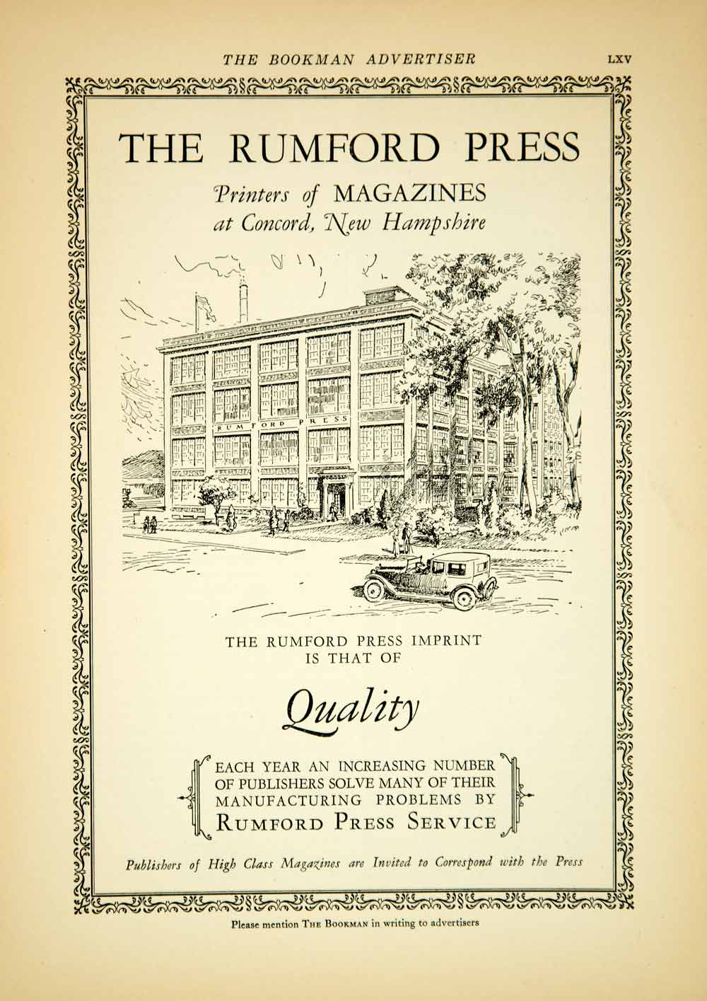 1927 Ad Vintage Rumford Press Concord New Hampshire Magazine Publisher YTB1