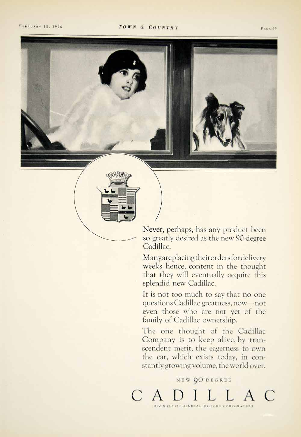 1926 Ad Cadillac Automobiles General Motors 90 Degree Dog Woman Driving YTC1