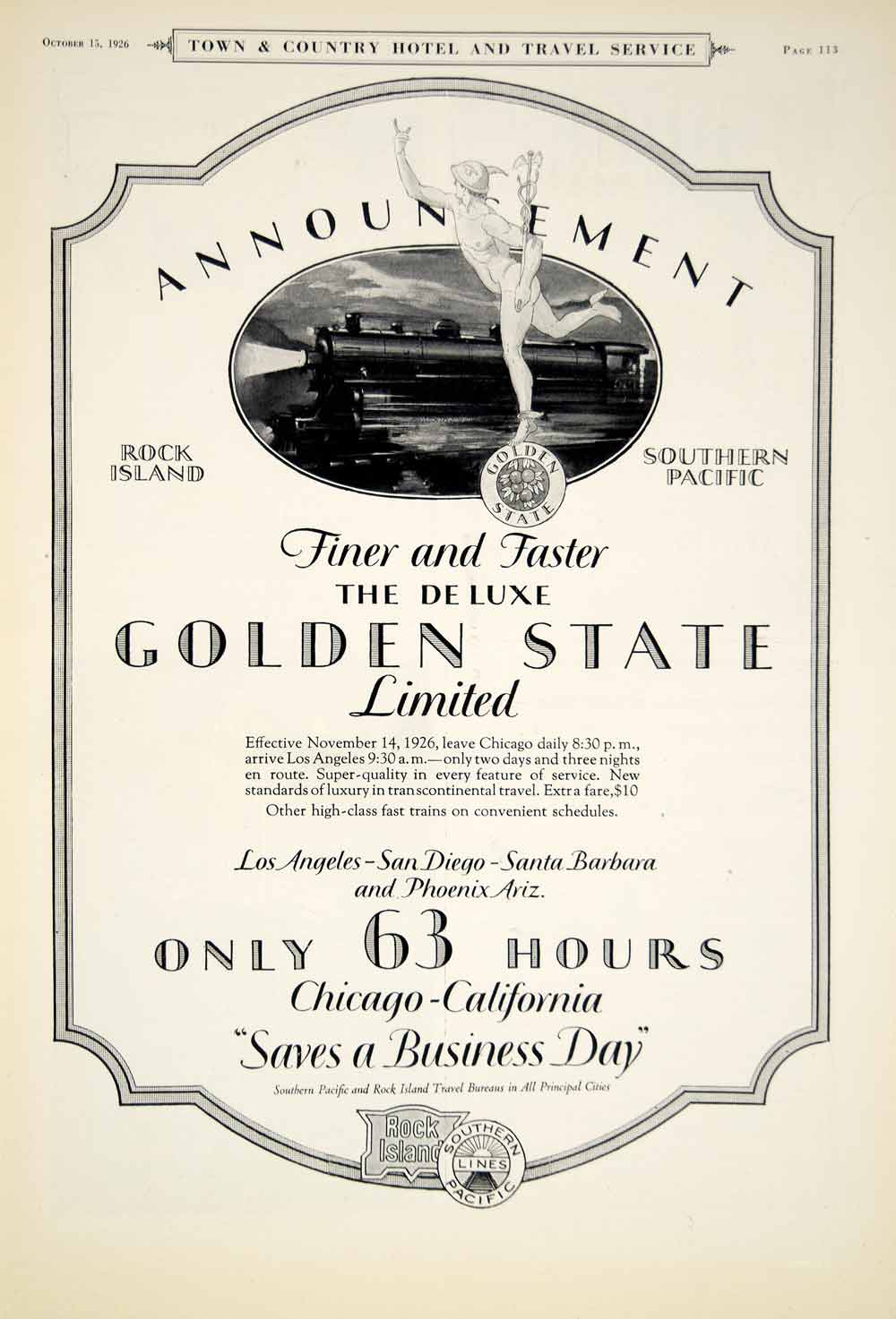 1926 Ad Golden State Limited Rock Island South Pacific Railroad Train Trip YTC1