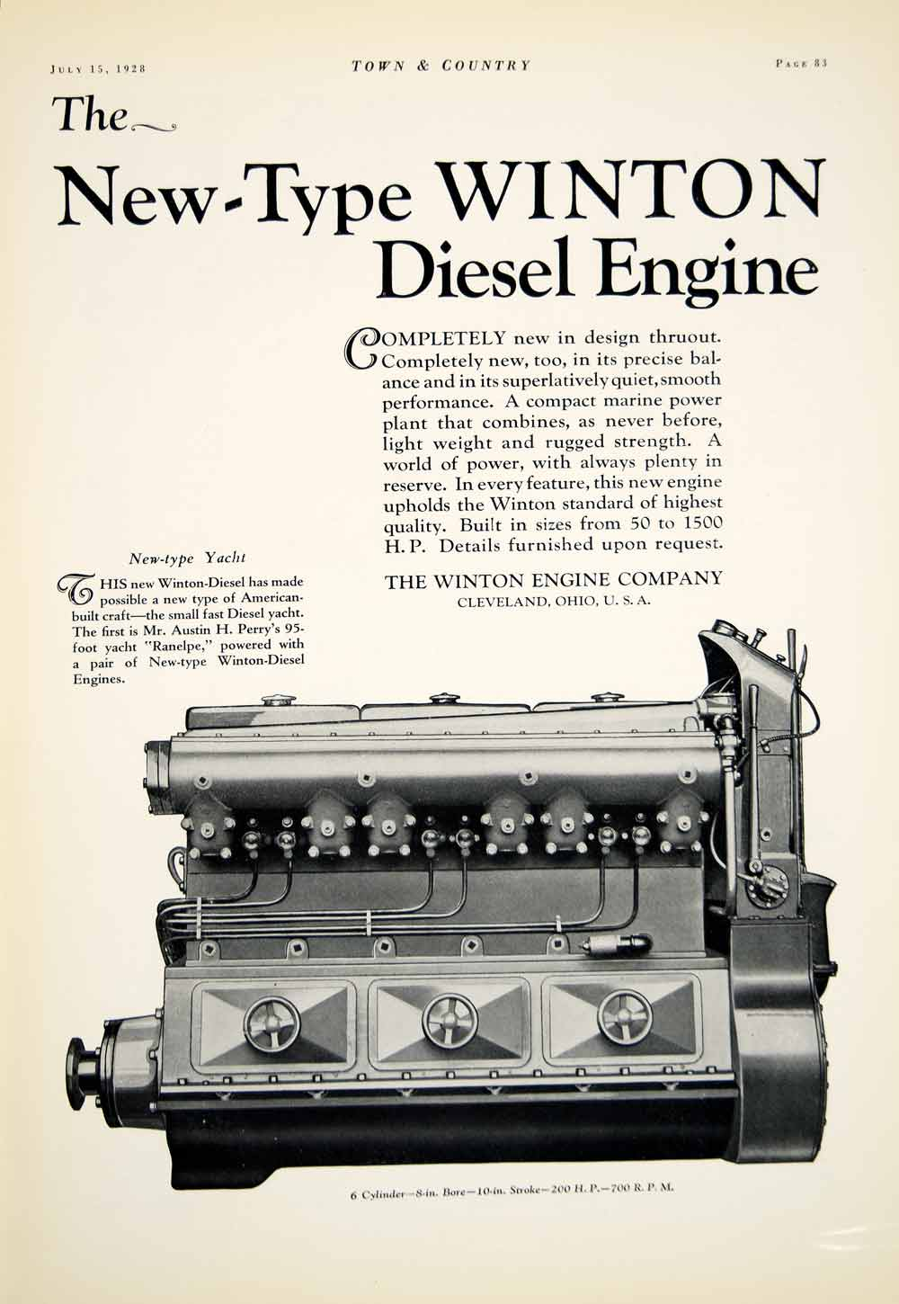 1928 Ad New Type Winton Diesel Engine Motor Cleveland Ohio Manufacturing YTC1
