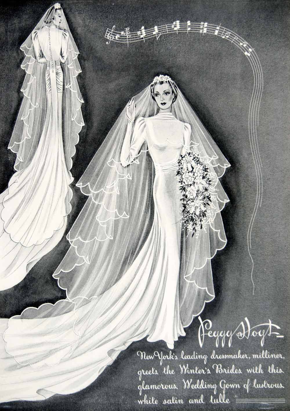 1937 Ad Peggy Hoyt Dressmaker Wedding Gown Seamstress Fashion Bride NYC YTC2