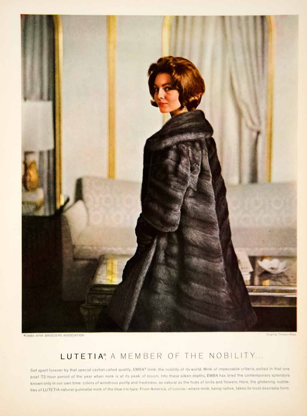 1963 Ad Vintage Lutetia Mink Fur Coat Fashion Virginia Thornen-Rice YTC3