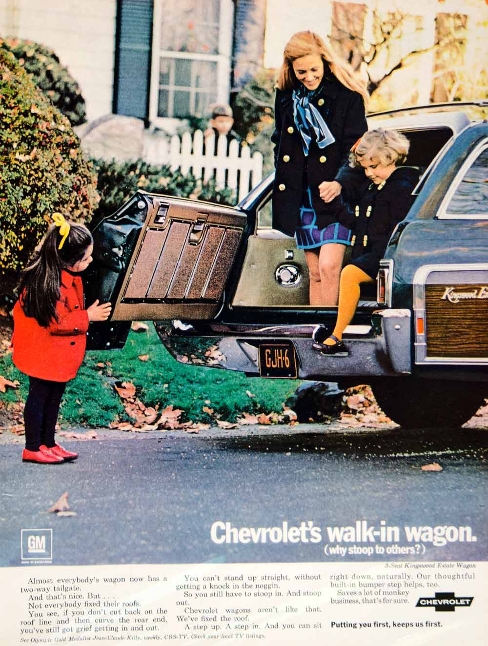 1969 Ad Vintage Chevrolet Kingswood Estate Station Wagon 3 Seat Family Period Paper