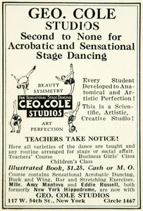 1926 Ad Geo Cole Studios Sensational Stage Dancing New York Dance YTD1
