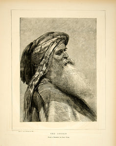 1870 Wood Engraving Carl Haag Art Sheikh Portrait Arab Middle East Old Man YTG1
