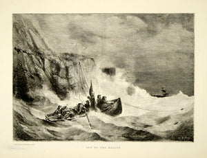 1870 Wood Engraving Rescue Lifeboat Cornwall England Seacoast Sinking Ship YTG1